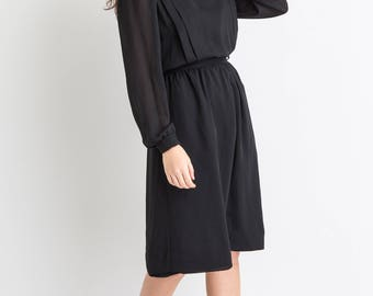 80s Black Sheer Chiffon Dress