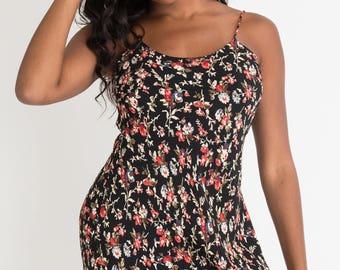 90s Black Floral Maxi Dress S