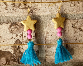 Howlite beads Tassel Earrings, Tassel Earrings, Star Earrings, Valentine's Day Gifts