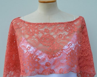 Cape Coral lace, coral lace poncho, cover-up coral lace bridal wedding, woman, evening, cocktail, teenager