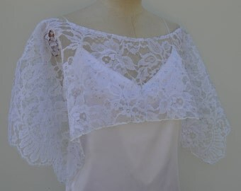 Lace cocktail, wedding lace, lace cape poncho Cape has white wedding flowers, white cover-up has flower, cape, poncho