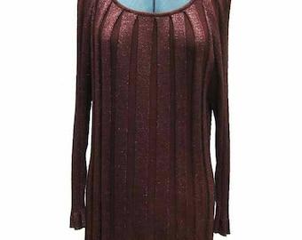 Joseph A. Brown Verical Stripe Glittery Rayon Blend Sweater Size XL