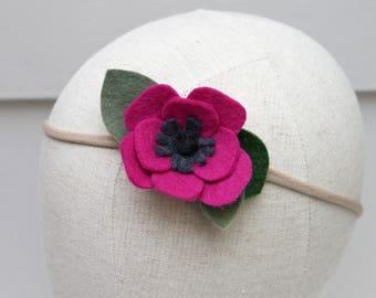fuchsia pink anemone felt flower headband / nylon headband / wool blend felt / handmade felt flower / baby, newborn, photography prop