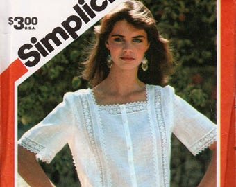 "Lace Blouse Pattern Sleeveless Blouse Puff Sleeve Blouse SIMPLICITY 5995 bust 38"" 1980s Blouse Summer Blouse Country Blouse Summer Tops"