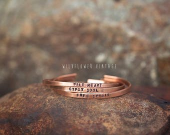 Skinny Stacking Bracelet | Wild Heart, Free Spirit, Gypsy Soul Hand Stamped Copper Boho Gift Festival Jewelry