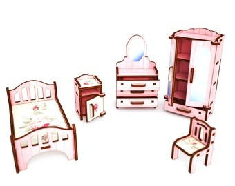 """Color set """"Bedroom"""" (pink with flowers)"""