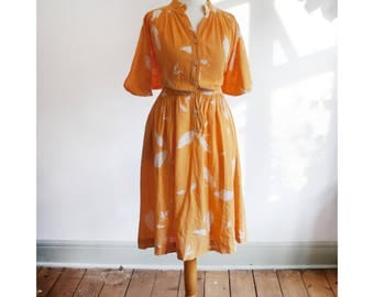 Vintage 1980's Orange Midi Summer Dress with Leaf Print, Size 10