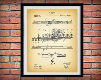 1908 Flute Patent Print - Musical Instrument - Woodwind Instrument - Orchestra Art - Marching Band  - Jazz Band Gift - Music Room Decor
