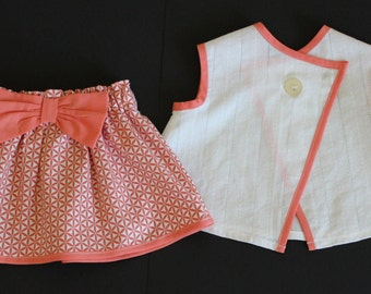 6 months old baby girl outfit 2 piece set skirt and shirt
