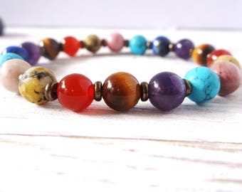 7 Chakra bracelet. Genuine stone high quality stretch bracelet. Spiritual healing bracelet. Chakra balancing. 8mm stones. For men or women
