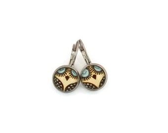 Owls - stainless steel rod - glass Stud Earrings