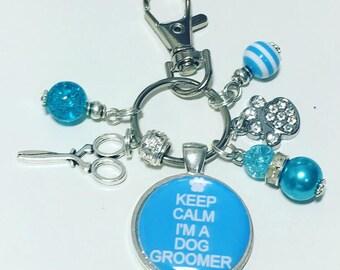 Dog groomer gift, gift for dog groomer, dog grooming keyring, dog grooming keychain
