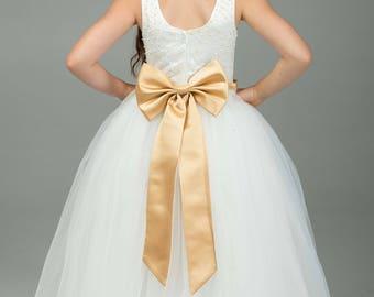 Gold Flower Girl Dress -- Gold Floor Length Tulle Dress -- Girls Tulle Dress