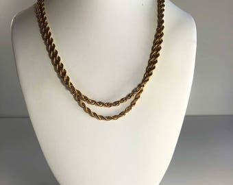 Vintage 80s Long Gold Necklace. Thick Chain Necklace, Extra Long. Ready to Wear