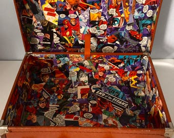 Unique Marvel/DC Comic Book Decoupaged/Upcycled Vintage Suitcase - Wedding - Birthday Party