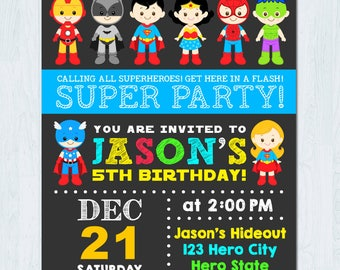 Superhero Invitation, Superhero Birthday Invitation, Superhero Invite, Superhero Birthday Invite, super hero invitation