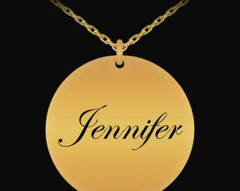 First Name Necklace - Jennifer - 18K Gold Plated Necklace - Personalized Jewelry - First Name Personalized Gifts - Laser Engraved