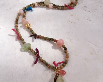 Goldfilled 14k and vermeil. Unakite, rose opal, prehnite, silk and seashell from Ibiza. 70 cm