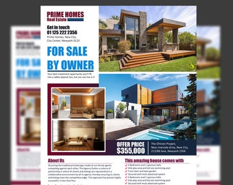 Real Estate advertising Flyer Template -Editable in Microsoft Word, Powerpoint and Photoshop - Real Estate Advertising - INSTANT DOWNLOAD