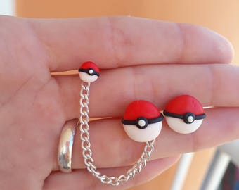 Pokéballs Chain Earring Pokémon Hélix cartilage piercing