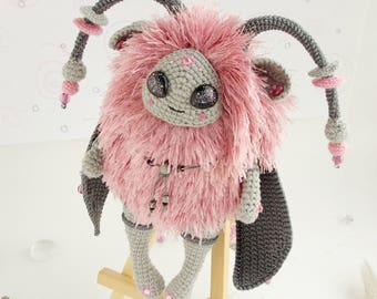 The Pink Flyer amigurumi crocheted toy handmade free shipping