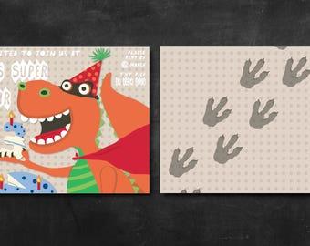 Super Dinosaur Party Invitation - Customized Digital Designs