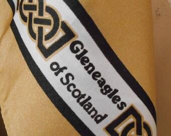 Jacqmar Scarf, Brown Vintage Scarf 1970s, Art Print Scarf,  Retro 1970s Neck Scarf, Unisex Scarf, Gleneagles , Golfing Scarf