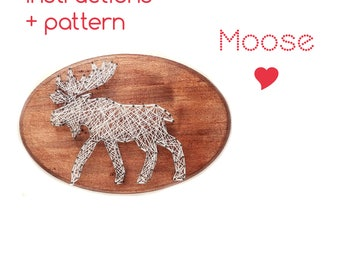 String art Pattern + Instructions - Moose DIY template, String art Moose, cabin decor, Download String Art Pattern, Woodland décor