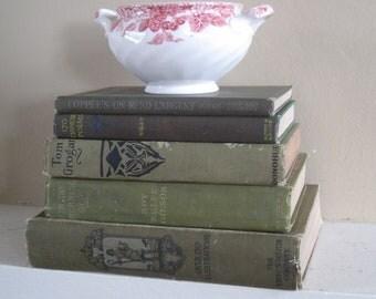 Decorative Books Set, Book Bundle, Farmhouse Books, Green Decor, Primative Decor, Rustic Stack of Books, Olive Books, Green Books