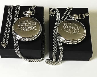Groomsmen gift - 2 Engraved pocket watches - Vintage personalized watch in gift box - Custom engraved gift - Wedding gifts for him & her