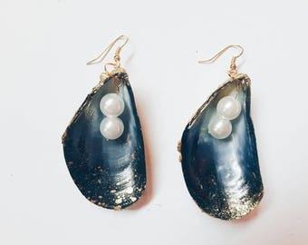 Vintage Unique Exclusive Seashell Earrings Blue Golden handmade jewelry Old seashells homemade fashion