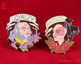 Prince Zuko and General Iroh Enamel Pins | Avatar the Last Airbender Lapel Fanart Honor | Nickelodeon Fire Nation Tattoo Flash Rose Design
