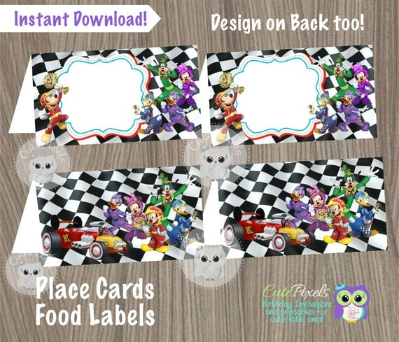 Il_570xn & Mickey Mouse Roadster Racers Place Cards Mickey Mouse Roadster ...