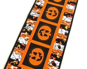 Quilted Halloween Table Runner, Pumpkin Table Runner, Jack O Lantern Quilted Runner, Halloween Items, Appliqued Pumpkins