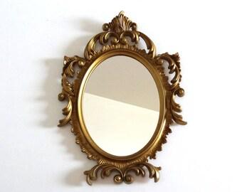 Vintage 50s Golden Oval Mirror - Mid Century Baroque Mirror Made in Italy
