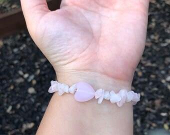 Rose Quartz and Heart Beaded Bracelet