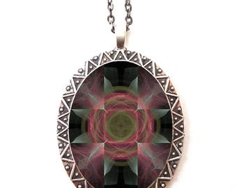 Fractal Cross Psychedelic Necklace Pendant Trippy - Festival Fashion - EDM Rave Burning Man Electric Daisy Carnival