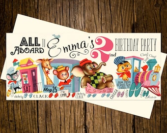 Animal Train Birthday Party Invitations Personalized Custom Printed Set of 12 Party Invites Vintage Ecru Pink Blue All Aboard