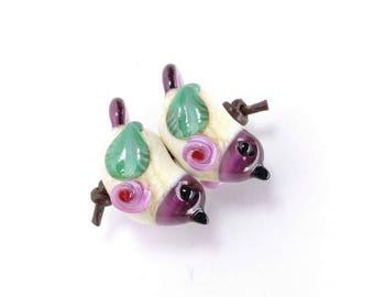 Rose Blossom Bird Lampwork Bead SINGLE or PAIR/ Lampwork Bird/ Floral Lampwork/ Glass Bird Beads/ Handmade Lampwork Beads/ Loose Lampwork/