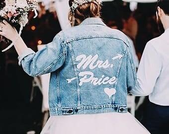 Mrs Custom Embroidered Denim Jacket | Jean Jacket | Wedding Jacket | Jacket for Brides | Just Married Jacket | Wifey Jacket | Custom Wedding