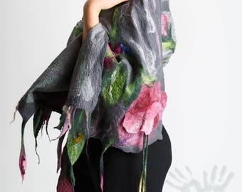 Silk shawl /  Handmade felted scarf / Silk Scarf / Nuno felt Silk / Eco / Handmade shawl / Merino Wool / Ready To Ship/ Free shipping.