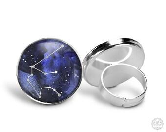Aquarius Constellation Ring | Aquarius Ring Constellation Jewelry Zodiac Ring Galaxy Ring Star Astrology Adjustable Ring Boho Jewelry