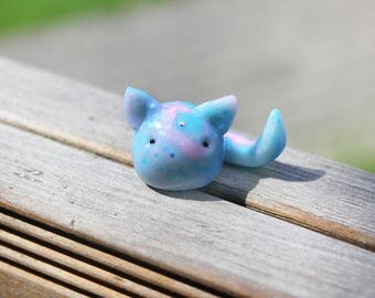 Cosmic Glitter Cat in Pink and Blue with a Svarowski Crystal, Polymer Clay Miniature Charm Sculpture Miniature