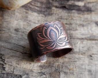 Zen ring, adjustable - Brown - copper lotus flower - yoga