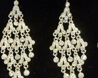 Silver Chandelier Earrings Mystic Quartz Stone Indigo Blue