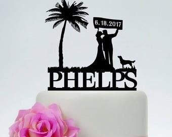 Wedding Cake Topper,Beach Cake Topper,Last Name Cake Topper,Palm Tree Cake Topper,Bride And Groom Cake Topper,Custom Cake Topper C213