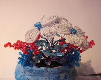 Basket of flowers from seed beads