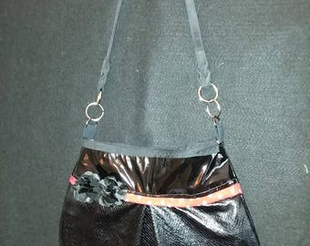 Black and black faux leather Shoulder bag with red poka dot trim