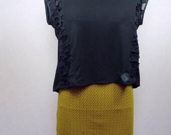 Mustard yellow patterned Jersey mini skirt