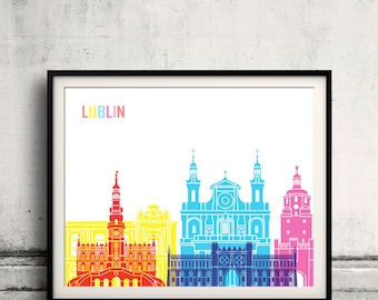 Lublin skyline pop - Fine Art Print Glicee Poster Gift Illustration Pop Art Colorful Landmarks - SKU 2499